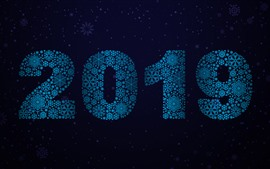 Preview wallpaper Blue snowflakes 2019, New Year