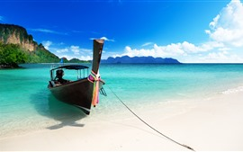 Boat, blue sea, beach, tropical