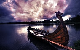 Preview wallpaper Boat, lake, sunset, clouds