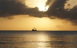 Preview wallpaper Boat, sea, sunset, sky, clouds
