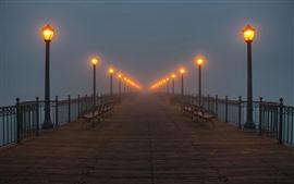 Мост, фонари, скамейка, туман, ночь