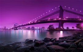 Preview wallpaper Bridge, lighting, river, rocks, city, pink background