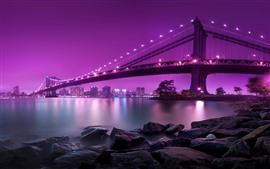 Ponte, iluminação, Rio, rochas, cidade, fundo cor-de-rosa
