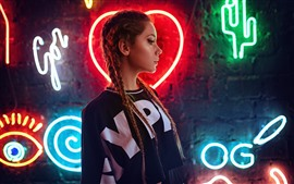 Preview wallpaper Brown hair girl, braids, neon lights