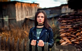 Preview wallpaper Brown hair young girl, fence