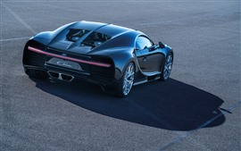 Preview wallpaper Bugatti Chiron black supercar rear view