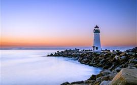 California, faro, rocas, mar, amanecer, USA