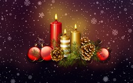 Preview wallpaper Candles, flame, Christmas balls, decoration, snowflakes, art picture