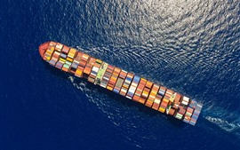 Cargo ship, sea, top view