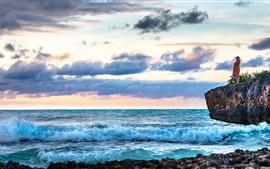 Caribe, mar, olas, espuma, nubes, niña, rocas