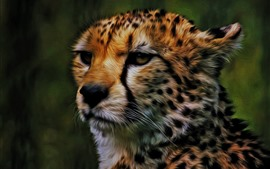 Preview wallpaper Cheetah, face, art picture