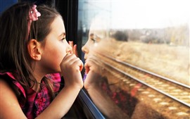 Preview wallpaper Child girl look out train window