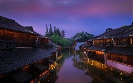 Preview wallpaper China, old houses, river, tower, lights, night