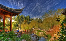 Preview wallpaper China, park, trees, gazebo, willows, autumn