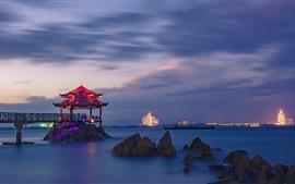 China, mar, noite, gazebo, luzes, pedras