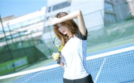 Chinese girl, sport, tennis, sunshine