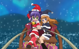 Preview wallpaper Christmas anime girls, sleigh