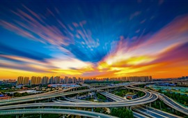 Preview wallpaper City, China, highways, viaduct, buildings, clouds, sunset