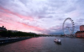 Preview wallpaper City, England, London, river, ferris wheel, ship, bridge, dusk