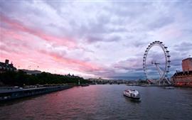 Город, Англия, Лондон, река, колесо обозрения, корабль, мост, сумерки