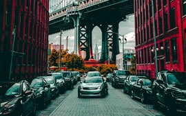 City, buildings, bridge, road, cars