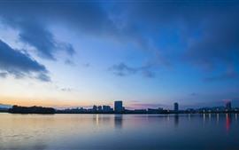 Preview wallpaper City, lake, dusk, park
