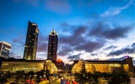 City night, Shenzhen, China, street, lights, buildings