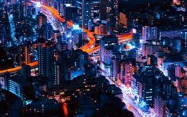 壁紙のプレビュー 街の夜、高層ビル、建物、ライト、道路