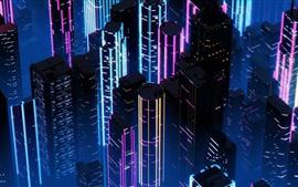 Город, небоскребы, ноча, Неон, картина искусствоа