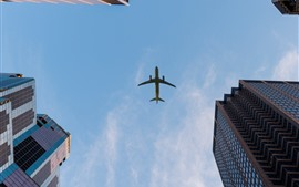 Preview wallpaper City, skyscrapers, sky, airplane
