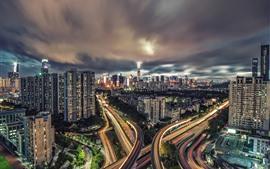 Paisaje urbano, ciudad, noche, luces, carreteras, nubes, Shenzhen, China