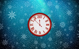 Preview wallpaper Clock, New Year 2019, snowflakes