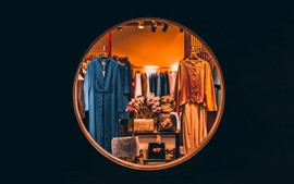 Preview wallpaper Clothing store, clothes, window, night