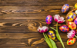 Preview wallpaper Colorful eggs, Easter, tulips, wood board