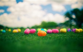 Huevos de juguete coloridos, hierba
