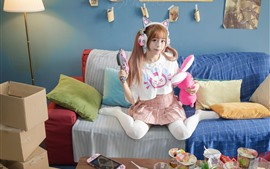 Preview wallpaper Cosplay girl, sofa, living room