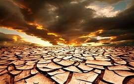 Preview wallpaper Cracks, ground, clouds, sunset