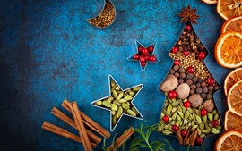 Preview wallpaper Creative, Christmas tree, cinnamon, dry orange slices, nuts