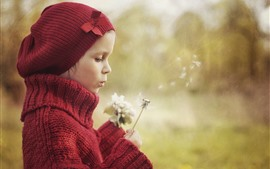 Preview wallpaper Cute girl play dandelions