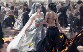 Preview wallpaper Dancing girls, elf, fantasy, art picture