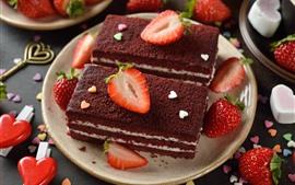 Dessert, cake, strawberry, love heart