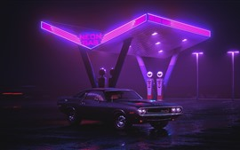 Preview wallpaper Dodge Charger 1970 car, neon gas