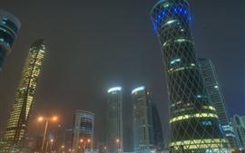 Doha, Qatar, ciudad, rascacielos, noche, Emiratos Árabes Unidos