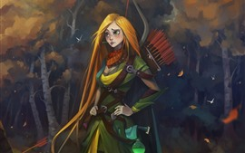 Preview wallpaper Dota 2, blonde girl, archer, art picture