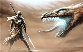 Preview wallpaper Dragon and warrior, fight, art picture