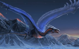 Dragon, flight, wings, mountains, art picture