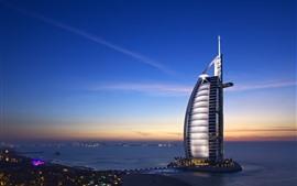 Дубай, ОАЭ, отель, город, ночь, море
