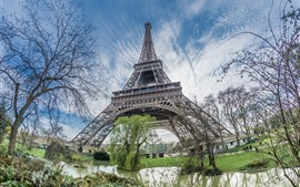 Tour Eiffel, étang, arbres, Paris, France