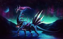 Animal da fantasia, dragão, espaço, planeta