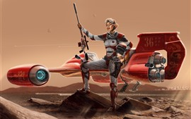 Preview wallpaper Fantasy girl, aircraft, future, sci-fi